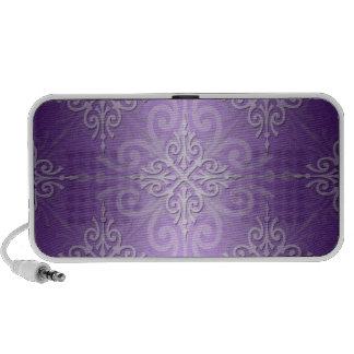 Lavender Purple Fancy Damask Pattern Mp3 Speakers