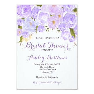 Lavender Purple Floral Baby Shower Invitation,Baby Card