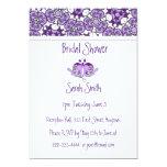 """Lavender Purple Floral Birds & Heart Shower Invite 5"""" X 7"""" Invitation Card"""