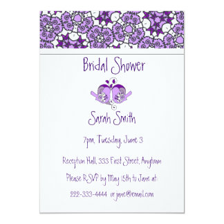 Lavender Purple Floral Birds & Heart Shower Invite