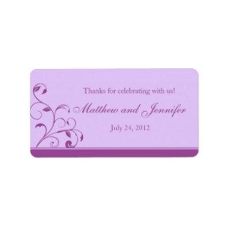 Lavender Purple Floral Curls Wedding Favor Labels