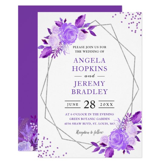 Lavender Purple Fl Modern Silver Frame Wedding Invitation