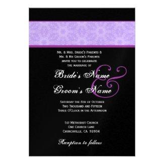 Lavender Purple Flower Wedding Metallic Invitation