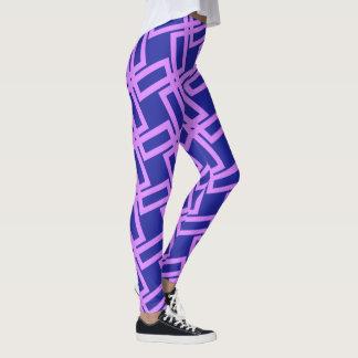Lavender Purple Geometric Line Pattern Leggings