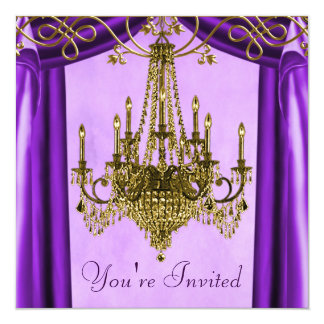 Lavender Purple Gold Chandelier Party Invitations