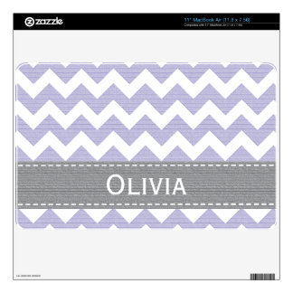 "Lavender Purple Gray Chevron 11 in MacBook Air Ski 11"" MacBook Air Decal"