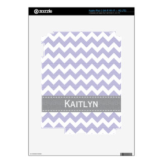 Lavender Purple Gray Chevron iPad 3 Skin