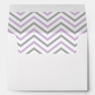 Lavender Purple Gray Grey Chevron Lined Envelope