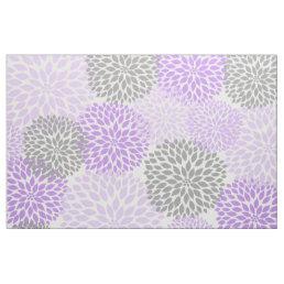Lavender Purple Gray Modern Dahlia floral print Fabric