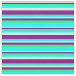 [ Thumbnail: Lavender, Purple, Green & Cyan Colored Stripes Fabric ]