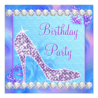 Lavender Purple High Heel Shoe Birthday Party Card