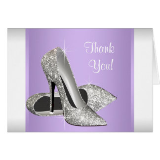 Lavender Purple High Heel Shoe Thank You Cards