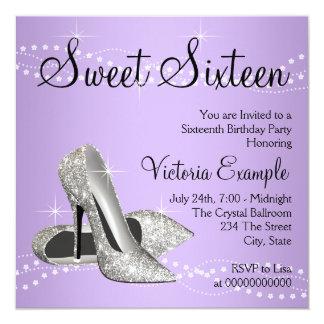 Lavender Purple High Heels Sweet 16 Party Card