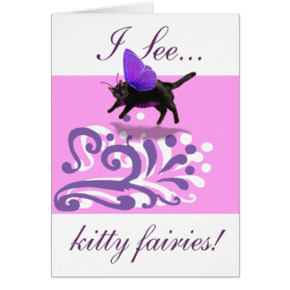 Lavender purple kitty fairy fantacy card