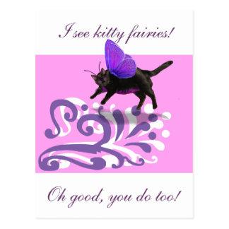 Lavender purple kitty fairy fantacy postcard