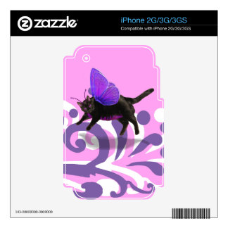 Lavender purple kitty fairy fantacy decal for iPhone 3