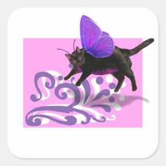 Lavender purple kitty fairy fantacy square sticker