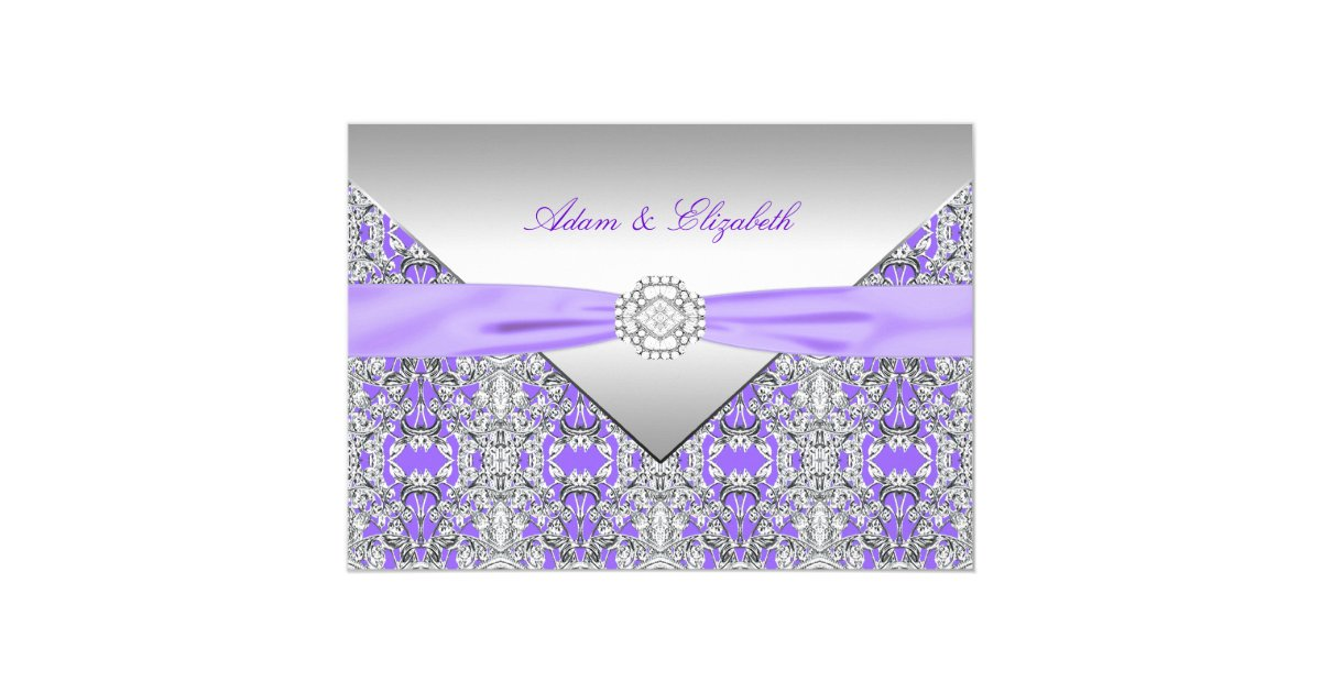 Wedding Invitations With Purple Ribbon: Lavender Purple Lace Diamond Ribbon Wedding Invitation