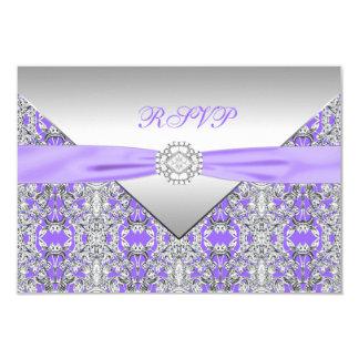 Lavender Purple Lace Diamond Wedding RSVP Card