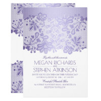 Lavender Purple Lace Elegant Vintage White Wedding Card