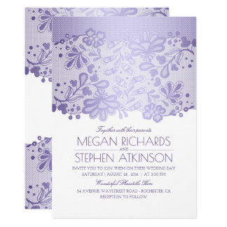 Lavender Purple Lace Elegant Vintage White Wedding Card