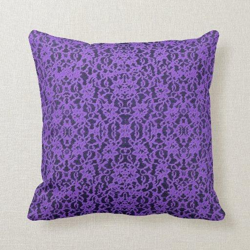 Purple Lavender Throw Pillows : Lavender Purple Lace Print Throw Pillow Cushion Zazzle