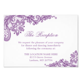 Lavender Purple Lace Wedding Information Details Card