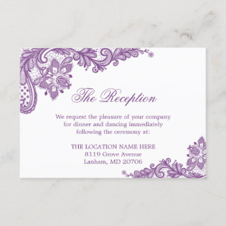Lavender Purple Lace Wedding Information Details Enclosure Card