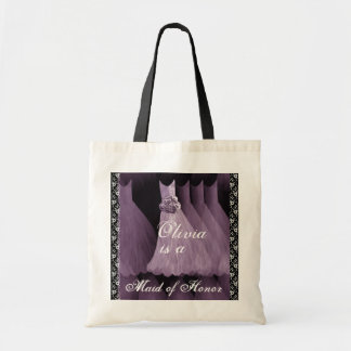 LAVENDER PURPLE Maid of Honor Cotton Tote Bag