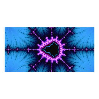 Lavender Purple Mandelbrot Cross on Blue Card