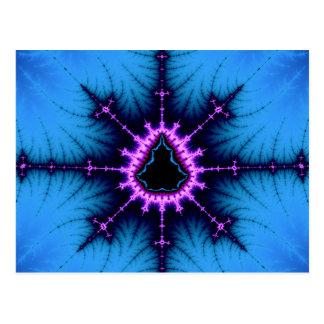 Lavender Purple Mandelbrot Cross on Blue Postcard
