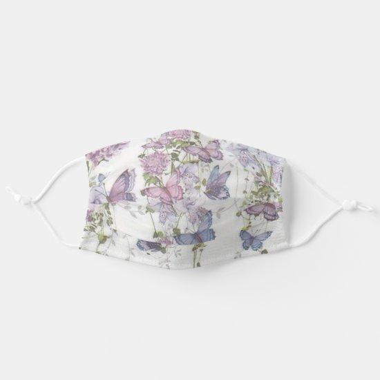 Lavender Purple Mauve Butterflies and Flowers Cloth Face Mask