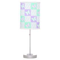 Lavender Purple Mint Green Butterfly Polka Dot Desk Lamp