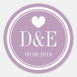 Lavender purple monogram wedding favor stickers