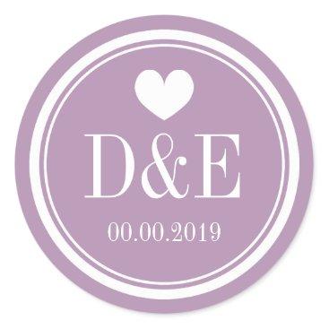 Valentines Themed Lavender purple monogram wedding favor stickers