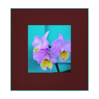 Lavender Purple Orchids & Teal by Sharles Gallery Wrapped Canvas