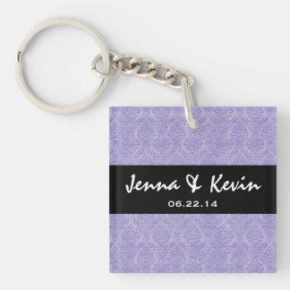 Lavender Purple Ornate Damask Wedding Collection Acrylic Key Chains