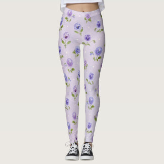Lavender Purple Pansy Legging