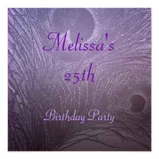 Lavender Purple Peacock Feather Birthday Party 5.25x5.25 Square Paper Invitation Card
