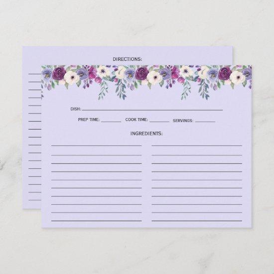 Lavender Purple Pink Floral Recipe Cards