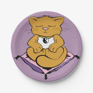 Lavender Purple Pink Zen Yoga Yin Yang Kitty Cat Paper Plate