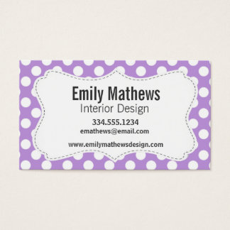 Lavender Purple Polka Dots Business Card