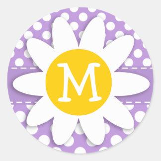 Lavender Purple Polka Dots Classic Round Sticker
