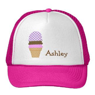Lavender Purple Polka Dots; Ice Cream Cone Mesh Hat