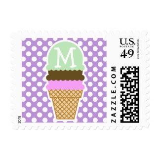 Lavender Purple Polka Dots; Ice Cream Cone Postage Stamps