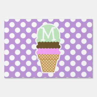 Lavender Purple Polka Dots; Ice Cream Cone Signs
