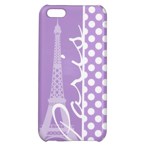 Lavender Purple Polka Dots; Paris Case For iPhone 5C