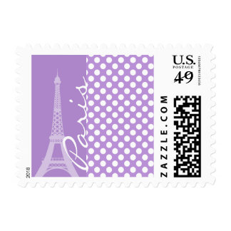 Lavender Purple Polka Dots; Paris Postage