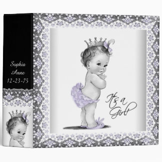 Lavender Purple Princess Baby Notebook 3 Ring Binder