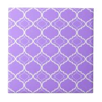 Lavender Purple Quatrefoil Geometric Pattern Ceramic Tile